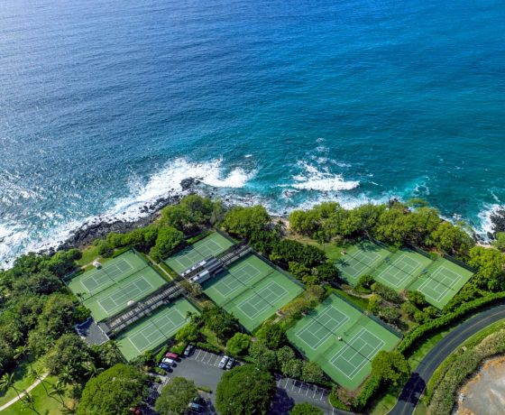 Beachfront tennis resort in Hawaii (Mauna Kea Beach Hotel)