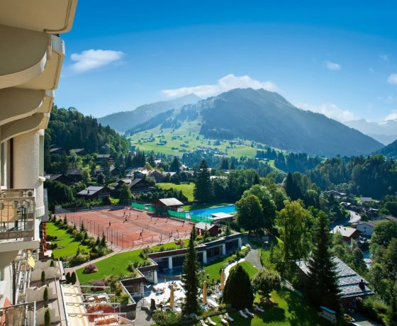 Mountainside tennis holidays in Gstaad, Switzerland (Gstaad Palace Hotel)